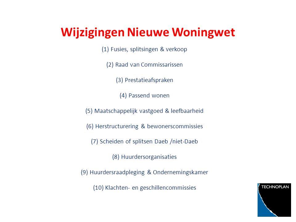 Wijzigingen Nieuwe Woningwet (1) Fusies, splitsingen & verkoop (2) Raad van Commissarissen (3) Prestatieafspraken (4) Passend wonen (5) Maatschappelijk vastgoed & leefbaarheid (6) Herstructurering & bewonerscommissies (7) Scheiden of splitsen Daeb /niet-Daeb (8) Huurdersorganisaties (9) Huurdersraadpleging & Ondernemingskamer (10) Klachten- en geschillencommissies