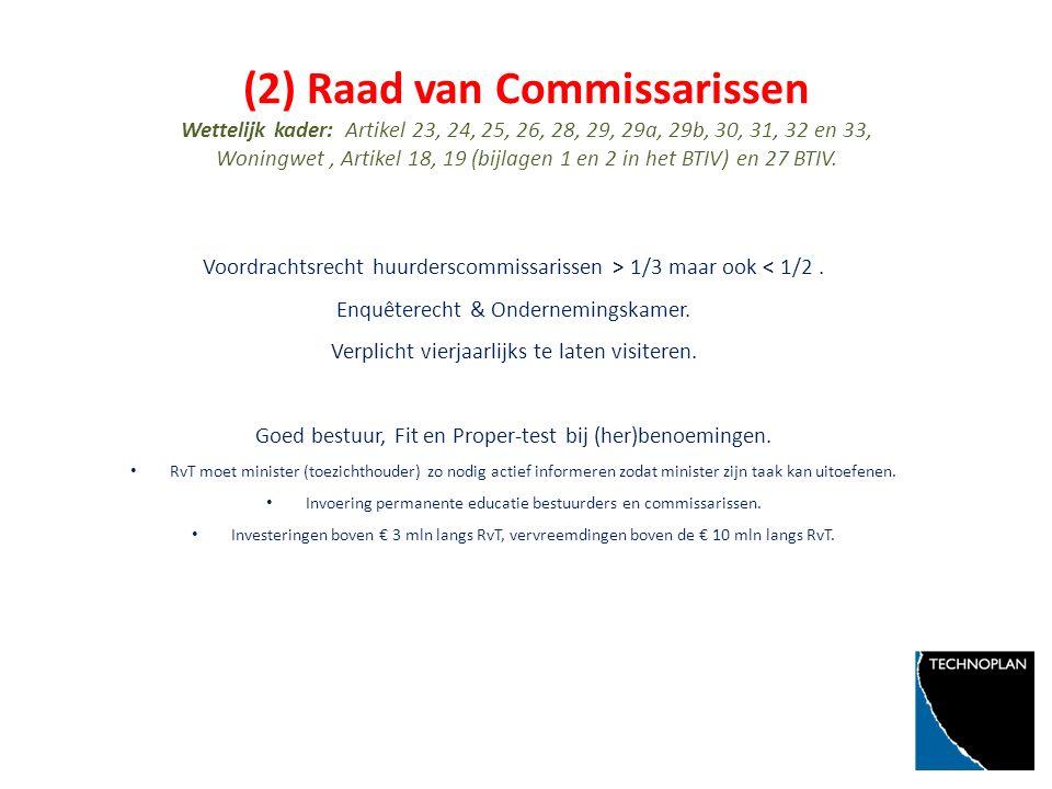 (2) Raad van Commissarissen Wettelijk kader: Artikel 23, 24, 25, 26, 28, 29, 29a, 29b, 30, 31, 32 en 33, Woningwet, Artikel 18, 19 (bijlagen 1 en 2 in het BTIV) en 27 BTIV.