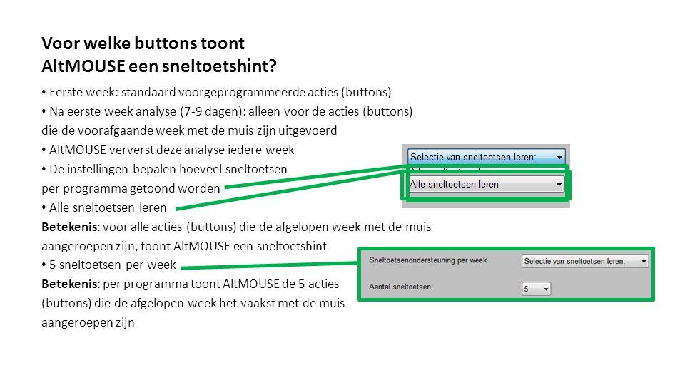 Voor welke buttons toont AltMOUSE een sneltoetshint? Eerste week: standaard voorgeprogrammeerde acties (buttons) Na eerste week analyse (7-9 dagen): a