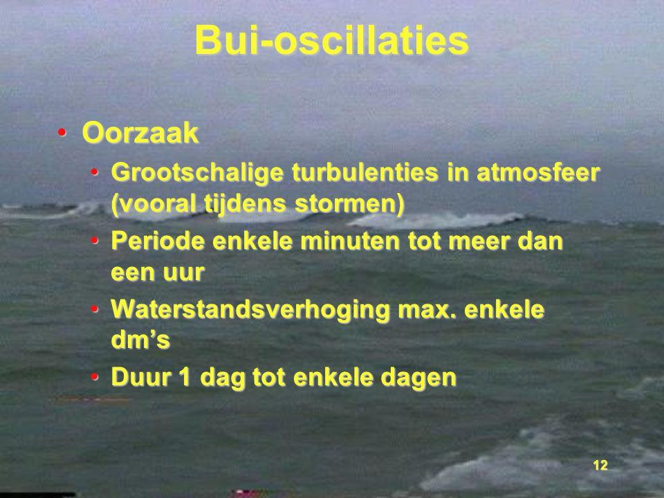12 Bui-oscillaties OorzaakOorzaak Grootschalige turbulenties in atmosfeer (vooral tijdens stormen)Grootschalige turbulenties in atmosfeer (vooral tijd