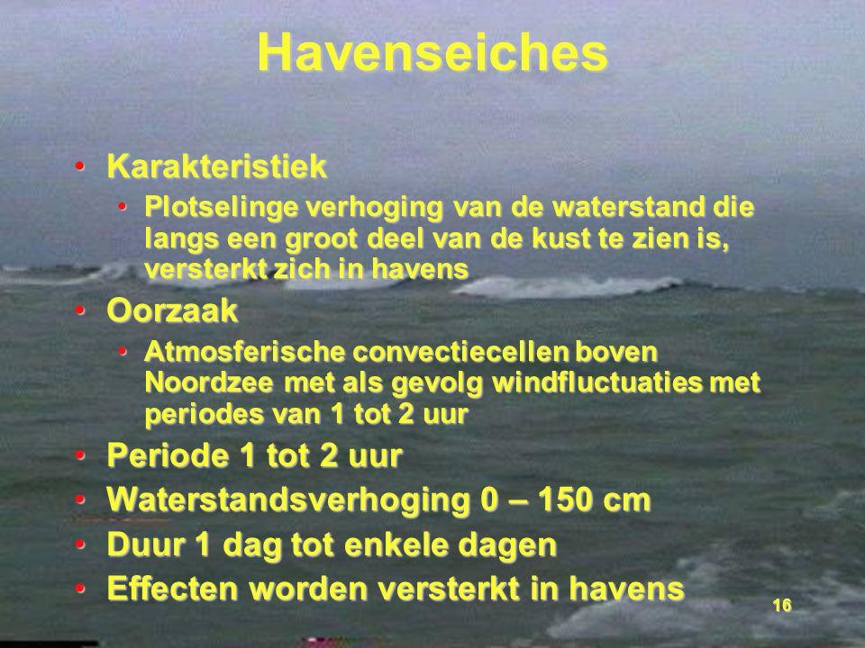16 Havenseiches KarakteristiekKarakteristiek Plotselinge verhoging van de waterstand die langs een groot deel van de kust te zien is, versterkt zich i