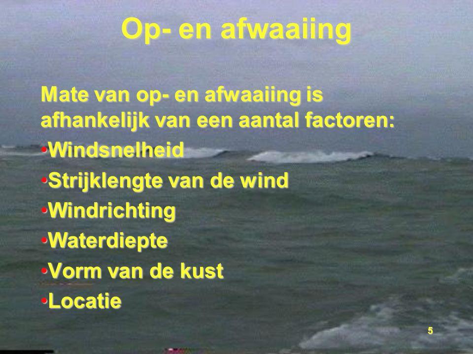 5 Op- en afwaaiing Mate van op- en afwaaiing is afhankelijk van een aantal factoren: WindsnelheidWindsnelheid Strijklengte van de windStrijklengte van