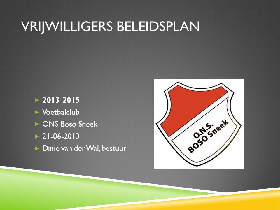 VRIJWILLIGERS BELEIDSPLAN  2013-2015  Voetbalclub  ONS Boso Sneek  21-06-2013  Dinie van der Wal, bestuur