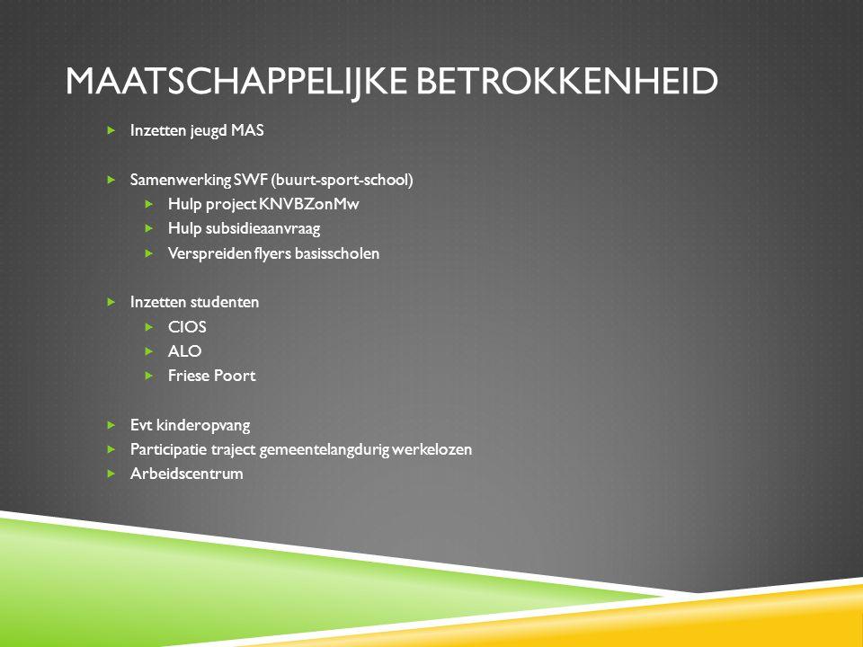 MAATSCHAPPELIJKE BETROKKENHEID  Inzetten jeugd MAS  Samenwerking SWF (buurt-sport-school)  Hulp project KNVBZonMw  Hulp subsidieaanvraag  Verspre