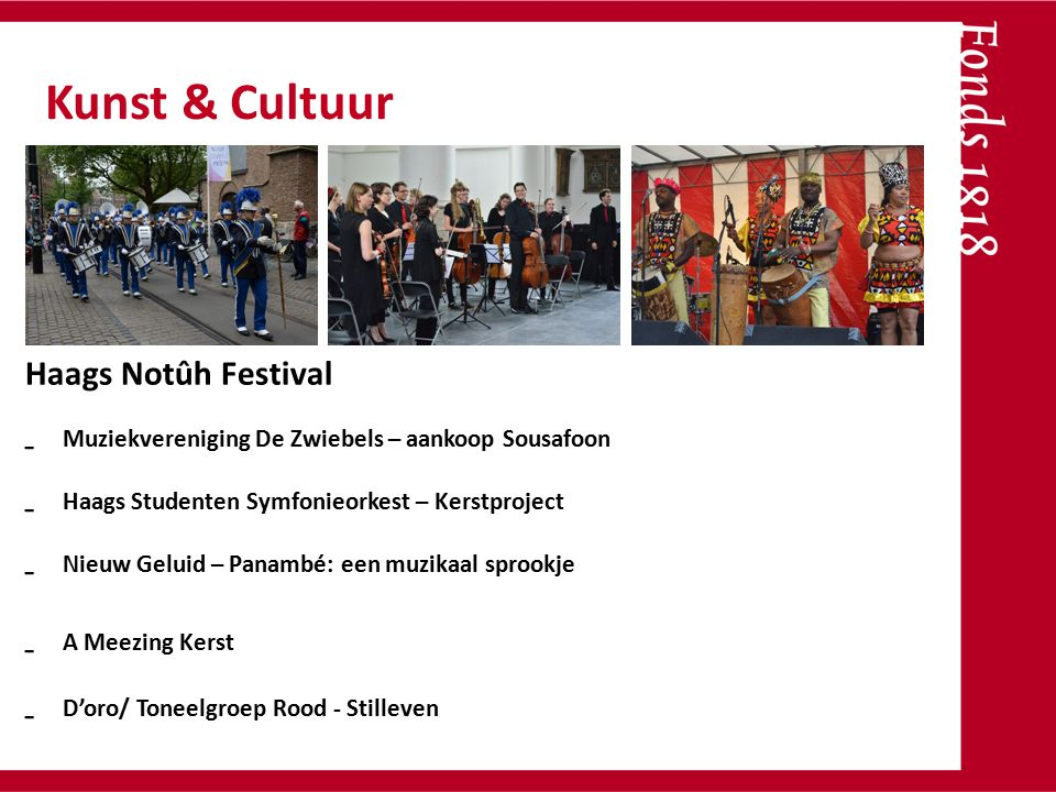 Dans aan de vliet Haags Notûh Festival - Muziekvereniging De Zwiebels – aankoop Sousafoon - Haags Studenten Symfonieorkest – Kerstproject - Nieuw Gelu