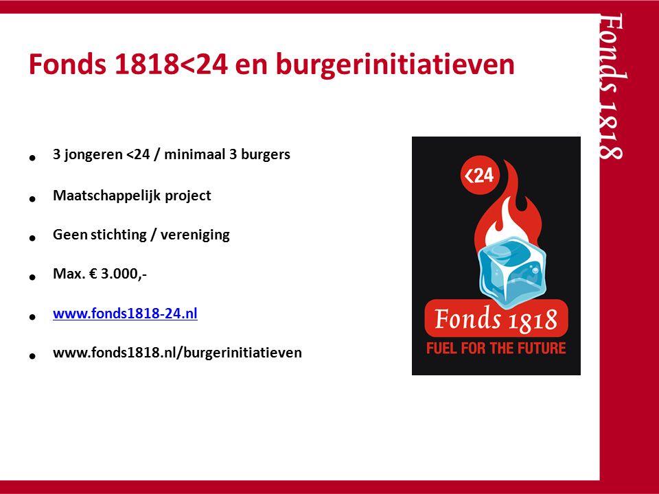 3 jongeren <24 / minimaal 3 burgers Maatschappelijk project Geen stichting / vereniging Max. € 3.000,- www.fonds1818-24.nl www.fonds1818.nl/burgerinit