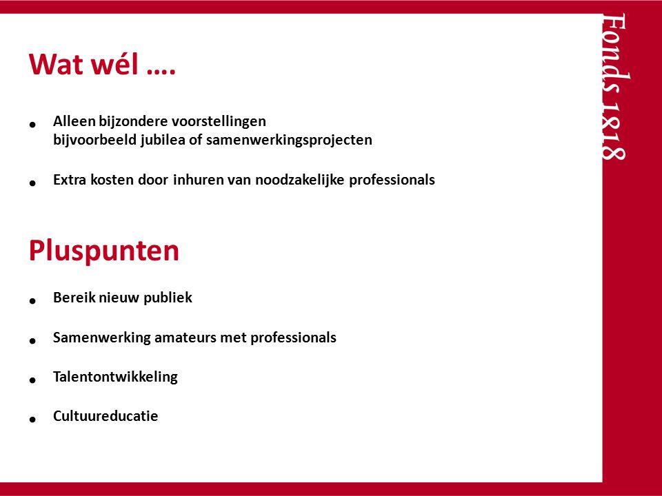 Alleen bijzondere voorstellingen bijvoorbeeld jubilea of samenwerkingsprojecten Extra kosten door inhuren van noodzakelijke professionals Bereik nieuw