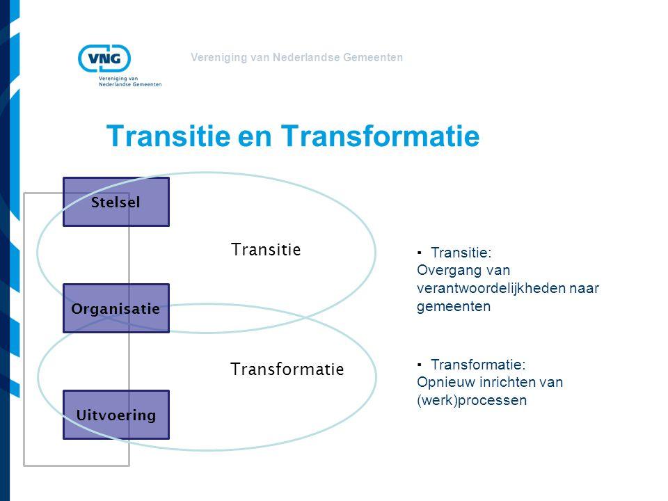 Vereniging van Nederlandse Gemeenten Transitie en Transformatie Stelsel ▪Transitie: Overgang van verantwoordelijkheden naar gemeenten Uitvoering ▪Transformatie: Opnieuw inrichten van (werk)processen Transitie Transformatie Organisatie