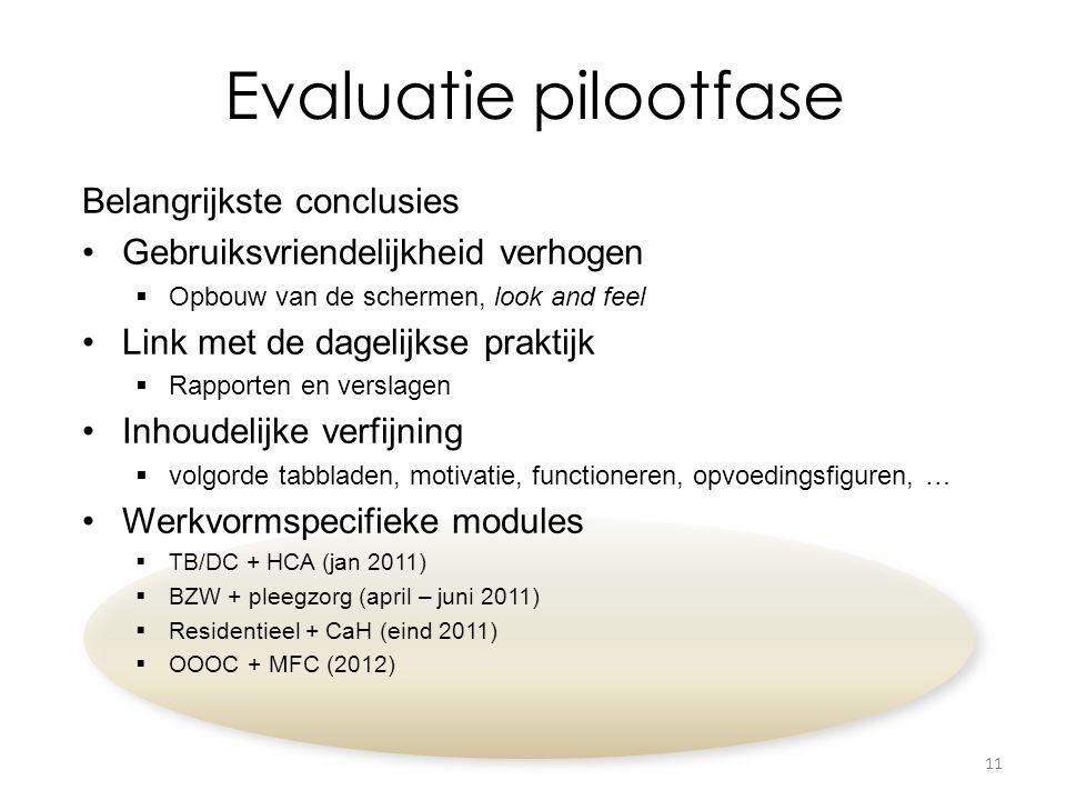 Evaluatie pilootfase Belangrijkste conclusies Gebruiksvriendelijkheid verhogen  Opbouw van de schermen, look and feel Link met de dagelijkse praktijk  Rapporten en verslagen Inhoudelijke verfijning  volgorde tabbladen, motivatie, functioneren, opvoedingsfiguren, … Werkvormspecifieke modules  TB/DC + HCA (jan 2011)  BZW + pleegzorg (april – juni 2011)  Residentieel + CaH (eind 2011)  OOOC + MFC (2012) 11