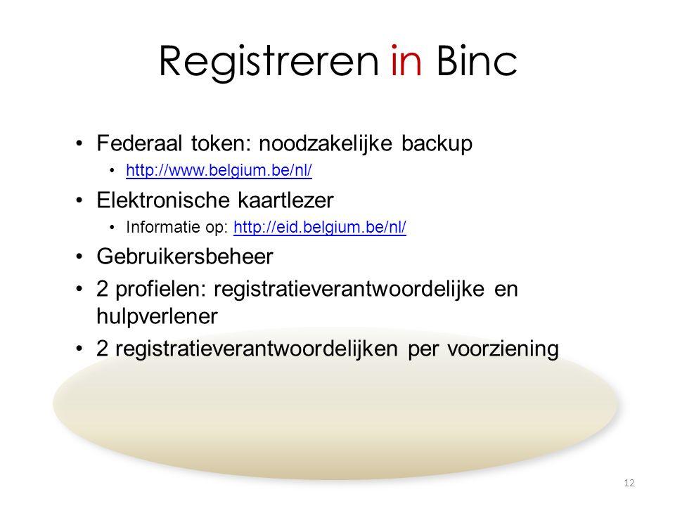 Registreren in Binc Federaal token: noodzakelijke backup http://www.belgium.be/nl/ Elektronische kaartlezer Informatie op: http://eid.belgium.be/nl/http://eid.belgium.be/nl/ Gebruikersbeheer 2 profielen: registratieverantwoordelijke en hulpverlener 2 registratieverantwoordelijken per voorziening 12
