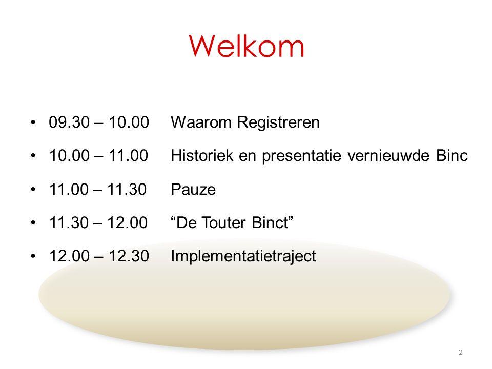 Welkom 09.30 – 10.00Waarom Registreren 10.00 – 11.00Historiek en presentatie vernieuwde Binc 11.00 – 11.30Pauze 11.30 – 12.00 De Touter Binct 12.00 – 12.30Implementatietraject 2