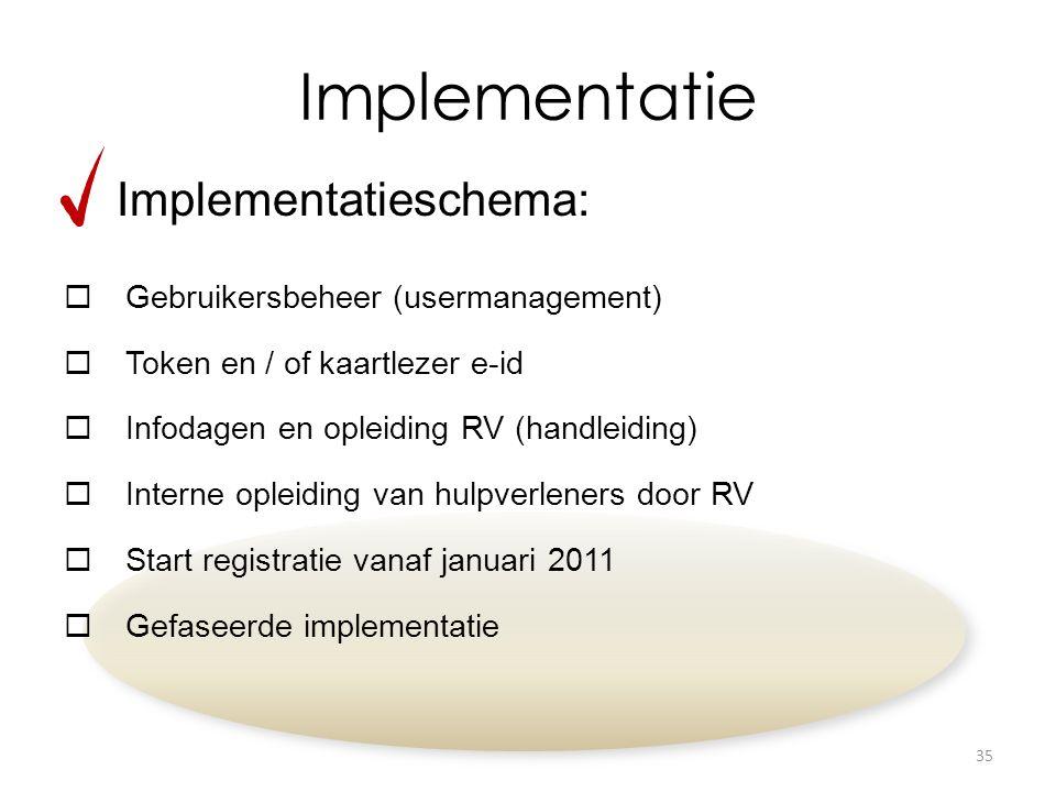 Implementatie Implementatieschema:  Gebruikersbeheer (usermanagement)  Token en / of kaartlezer e-id  Infodagen en opleiding RV (handleiding)  Interne opleiding van hulpverleners door RV  Start registratie vanaf januari 2011  Gefaseerde implementatie 35