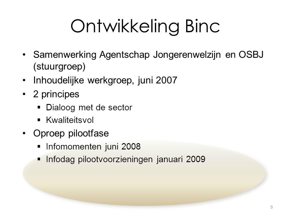 Ontwikkeling Binc Samenwerking Agentschap Jongerenwelzijn en OSBJ (stuurgroep) Inhoudelijke werkgroep, juni 2007 2 principes  Dialoog met de sector 