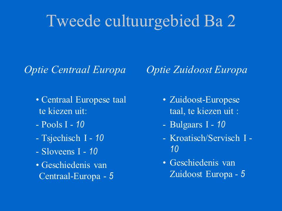 Tweede cultuurgebied Ba 2 Optie Centraal Europa Centraal Europese taal te kiezen uit: - Pools I - 10 - Tsjechisch I - 10 - Sloveens I - 10 Geschiedenis van Centraal-Europa - 5 Optie Zuidoost Europa Zuidoost-Europese taal, te kiezen uit : -Bulgaars I - 10 -Kroatisch/Servisch I - 10 Geschiedenis van Zuidoost Europa - 5