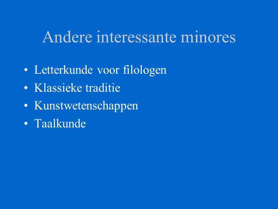 Andere interessante minores Letterkunde voor filologen Klassieke traditie Kunstwetenschappen Taalkunde
