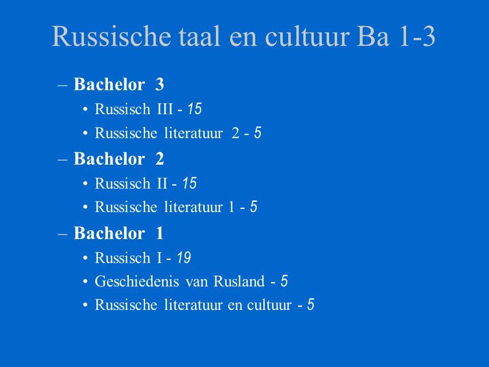 Russische taal en cultuur Ba 1-3 –Bachelor 3 Russisch III - 15 Russische literatuur 2 - 5 –Bachelor 2 Russisch II - 15 Russische literatuur 1 - 5 –Bachelor 1 Russisch I - 19 Geschiedenis van Rusland - 5 Russische literatuur en cultuur - 5