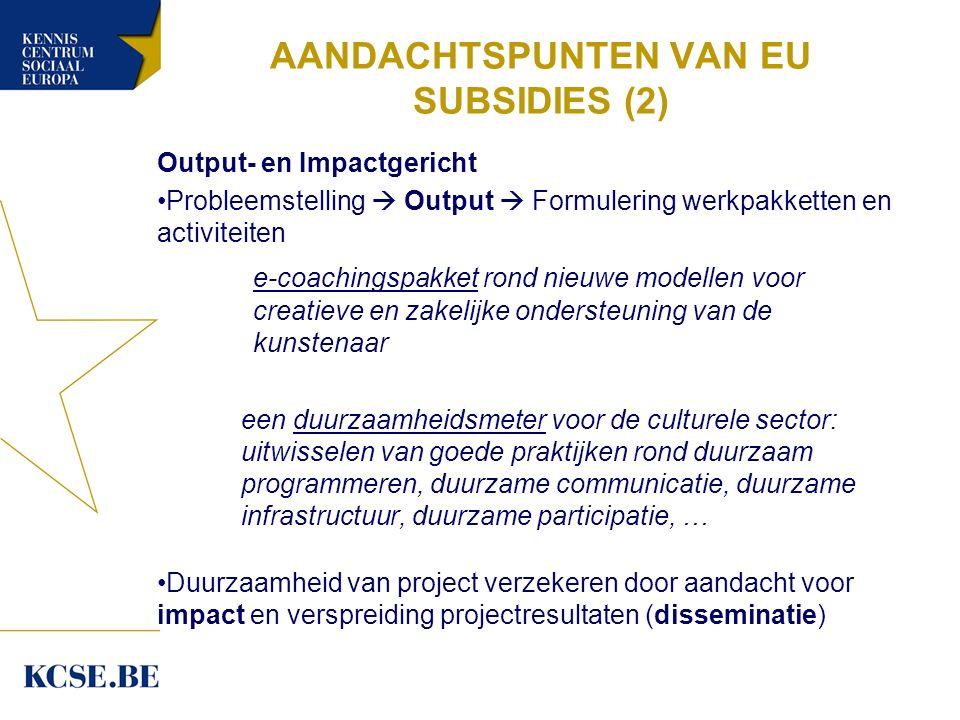 AANDACHTSPUNTEN VAN EU SUBSIDIES (2) Output- en Impactgericht Probleemstelling  Output  Formulering werkpakketten en activiteiten e-coachingspakket rond nieuwe modellen voor creatieve en zakelijke ondersteuning van de kunstenaar een duurzaamheidsmeter voor de culturele sector: uitwisselen van goede praktijken rond duurzaam programmeren, duurzame communicatie, duurzame infrastructuur, duurzame participatie, … Duurzaamheid van project verzekeren door aandacht voor impact en verspreiding projectresultaten (disseminatie)