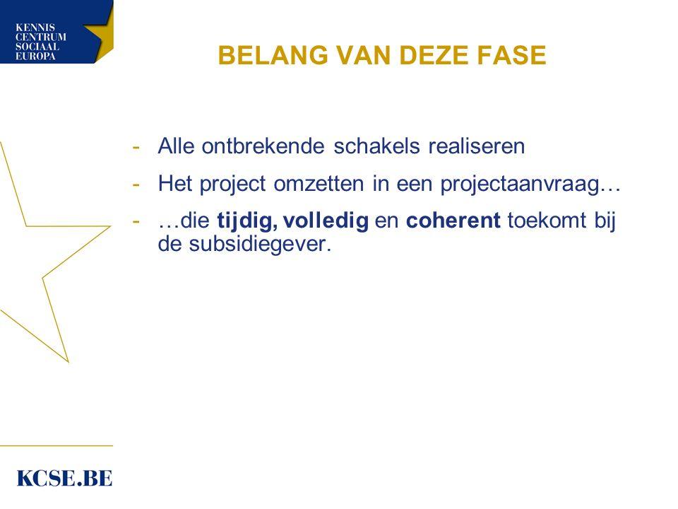 BELANG VAN DEZE FASE -Alle ontbrekende schakels realiseren -Het project omzetten in een projectaanvraag… -…die tijdig, volledig en coherent toekomt bij de subsidiegever.