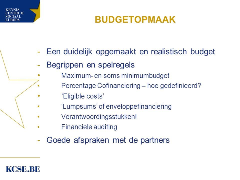 BUDGETOPMAAK -Een duidelijk opgemaakt en realistisch budget -Begrippen en spelregels Maximum- en soms minimumbudget Percentage Cofinanciering – hoe gedefinieerd.