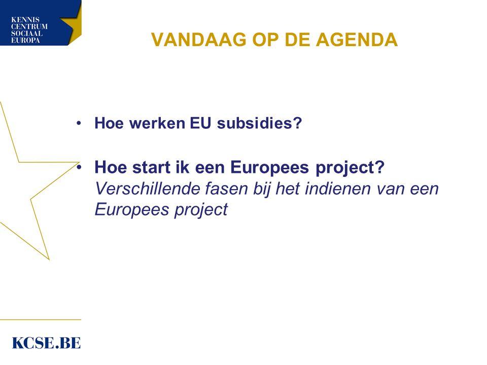 VANDAAG OP DE AGENDA Hoe werken EU subsidies.Hoe start ik een Europees project.