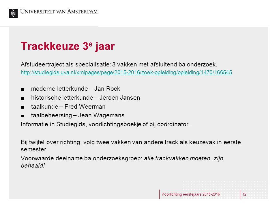 Trackkeuze 3 e jaar Afstudeertraject als specialisatie: 3 vakken met afsluitend ba onderzoek. http://studiegids.uva.nl/xmlpages/page/2015-2016/zoek-op