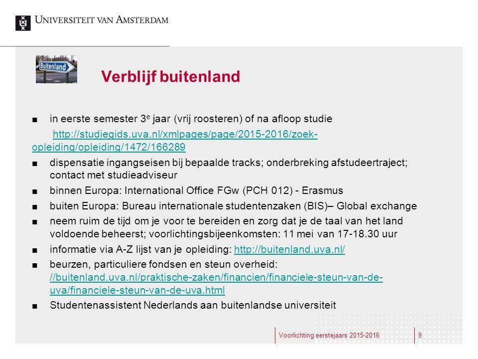 Verblijf buitenland in eerste semester 3 e jaar (vrij roosteren) of na afloop studie http://studiegids.uva.nl/xmlpages/page/2015-2016/zoek- opleiding/
