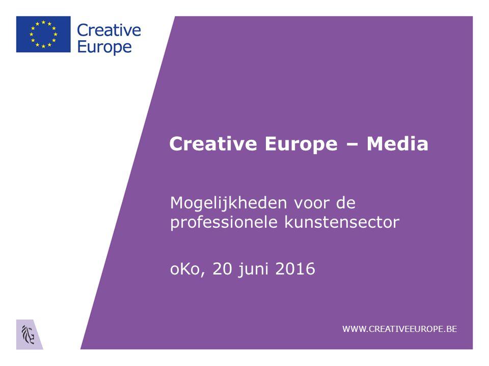 Creative Europe – Media Mogelijkheden voor de professionele kunstensector oKo, 20 juni 2016 WWW.CREATIVEEUROPE.BE