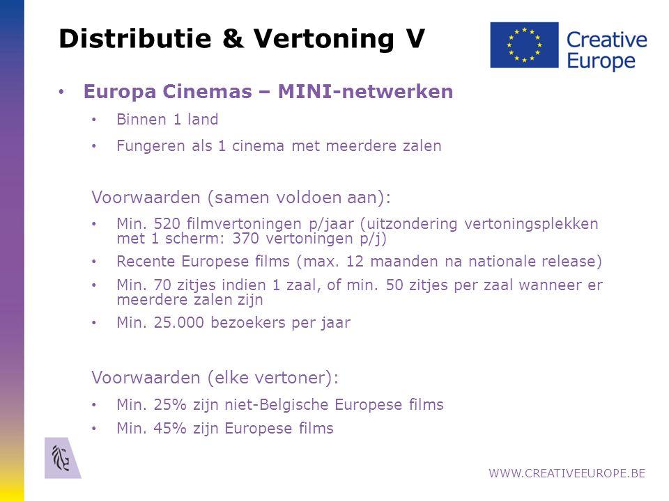 Distributie & Vertoning V Europa Cinemas – MINI-netwerken Binnen 1 land Fungeren als 1 cinema met meerdere zalen Voorwaarden (samen voldoen aan): Min.