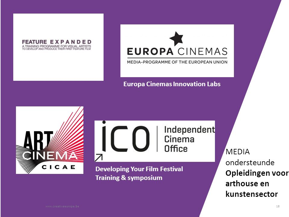18 MEDIA ondersteunde Opleidingen voor arthouse en kunstensector www.creativeeurope.be Europa Cinemas Innovation Labs Developing Your Film Festival Training & symposium