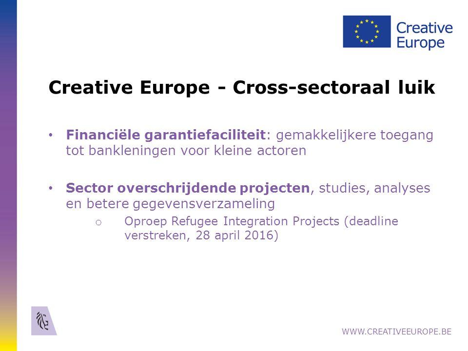 Creative Europe - Cross-sectoraal luik Financiële garantiefaciliteit: gemakkelijkere toegang tot bankleningen voor kleine actoren Sector overschrijdende projecten, studies, analyses en betere gegevensverzameling o Oproep Refugee Integration Projects (deadline verstreken, 28 april 2016) WWW.CREATIVEEUROPE.BE