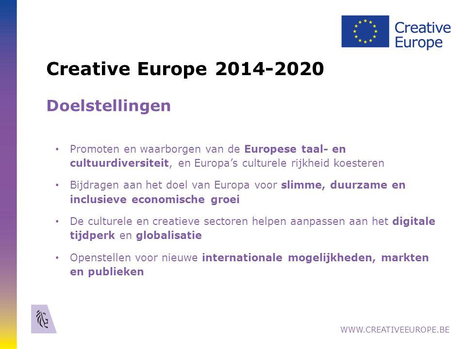 Creative Europe 2014-2020 Doelstellingen Promoten en waarborgen van de Europese taal- en cultuurdiversiteit, en Europa's culturele rijkheid koesteren Bijdragen aan het doel van Europa voor slimme, duurzame en inclusieve economische groei De culturele en creatieve sectoren helpen aanpassen aan het digitale tijdperk en globalisatie Openstellen voor nieuwe internationale mogelijkheden, markten en publieken WWW.CREATIVEEUROPE.BE