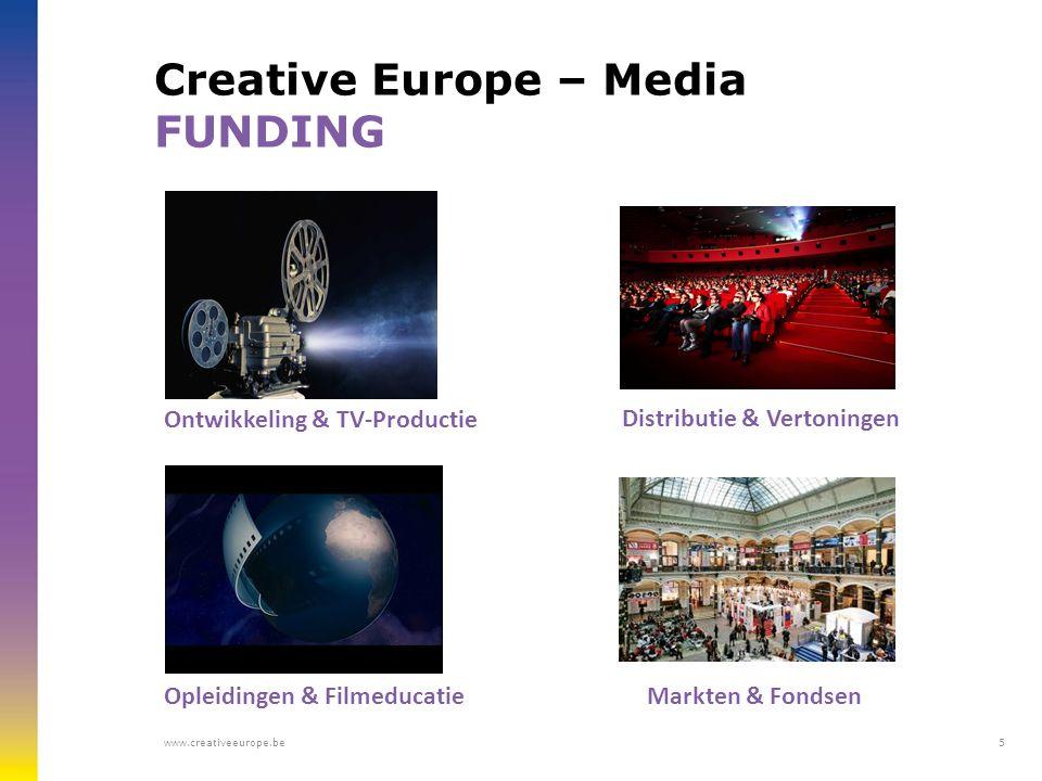 Creative Europe – Media FUNDING Ontwikkeling & TV-Productie Distributie & Vertoningen Opleidingen & Filmeducatie Markten & Fondsen www.creativeeurope.be5