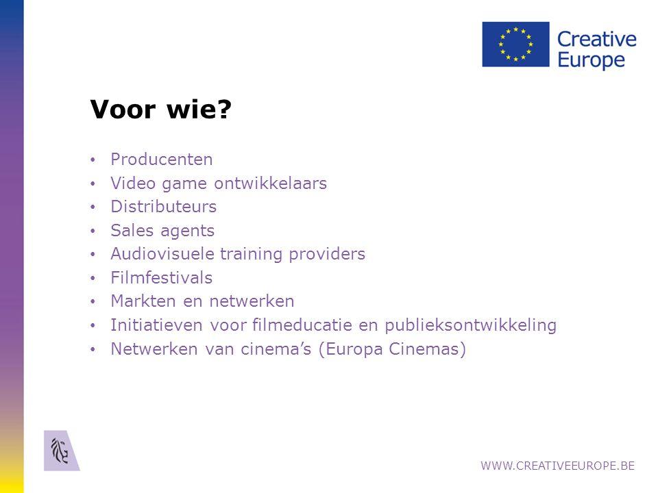Distributie & Vertoning IV Europa Cinemas - Netwerk van Europese cinema's Voorwaarden: 1.Vertoners met min.