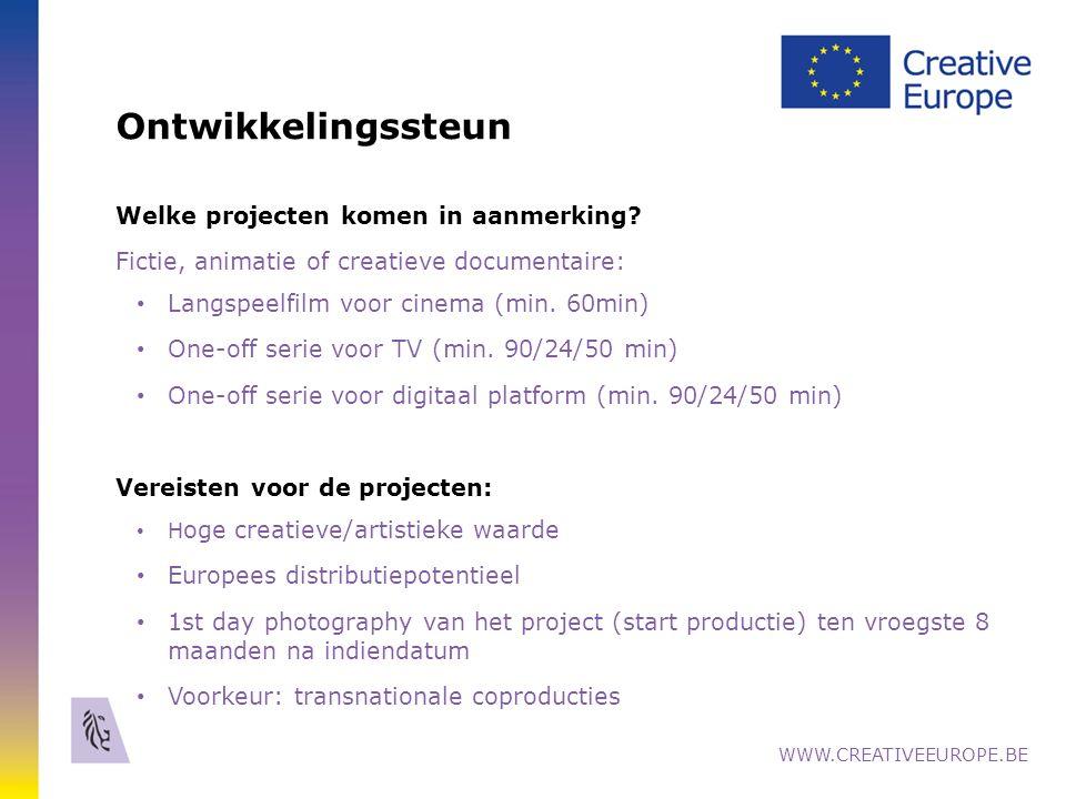 Ontwikkeling van 1 project Wie komt in aanmerking.