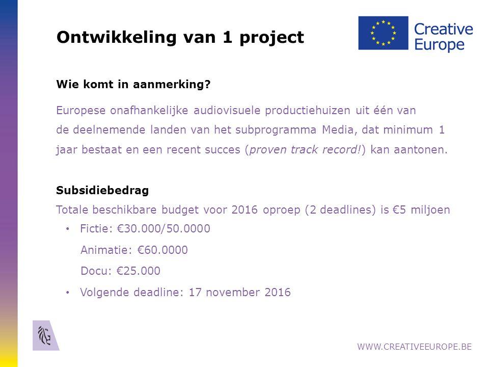 18 Belgische projecten met MEDIA ontwikkelings- Steun www.creativeeurope.be
