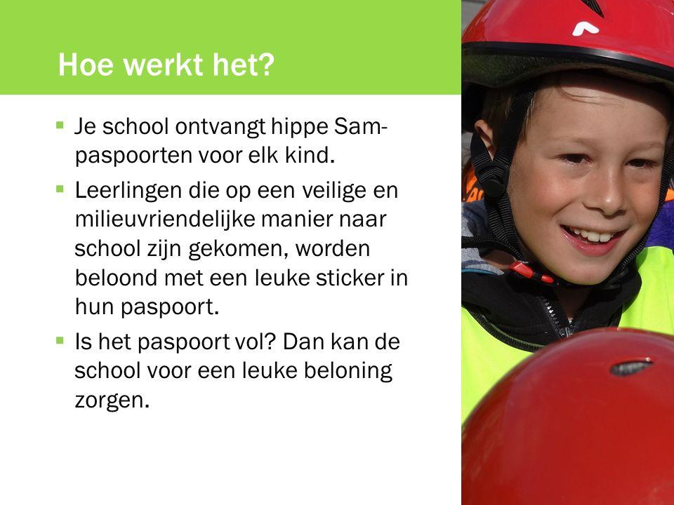 Hoe werkt het?  Je school ontvangt hippe Sam- paspoorten voor elk kind.  Leerlingen die op een veilige en milieuvriendelijke manier naar school zijn