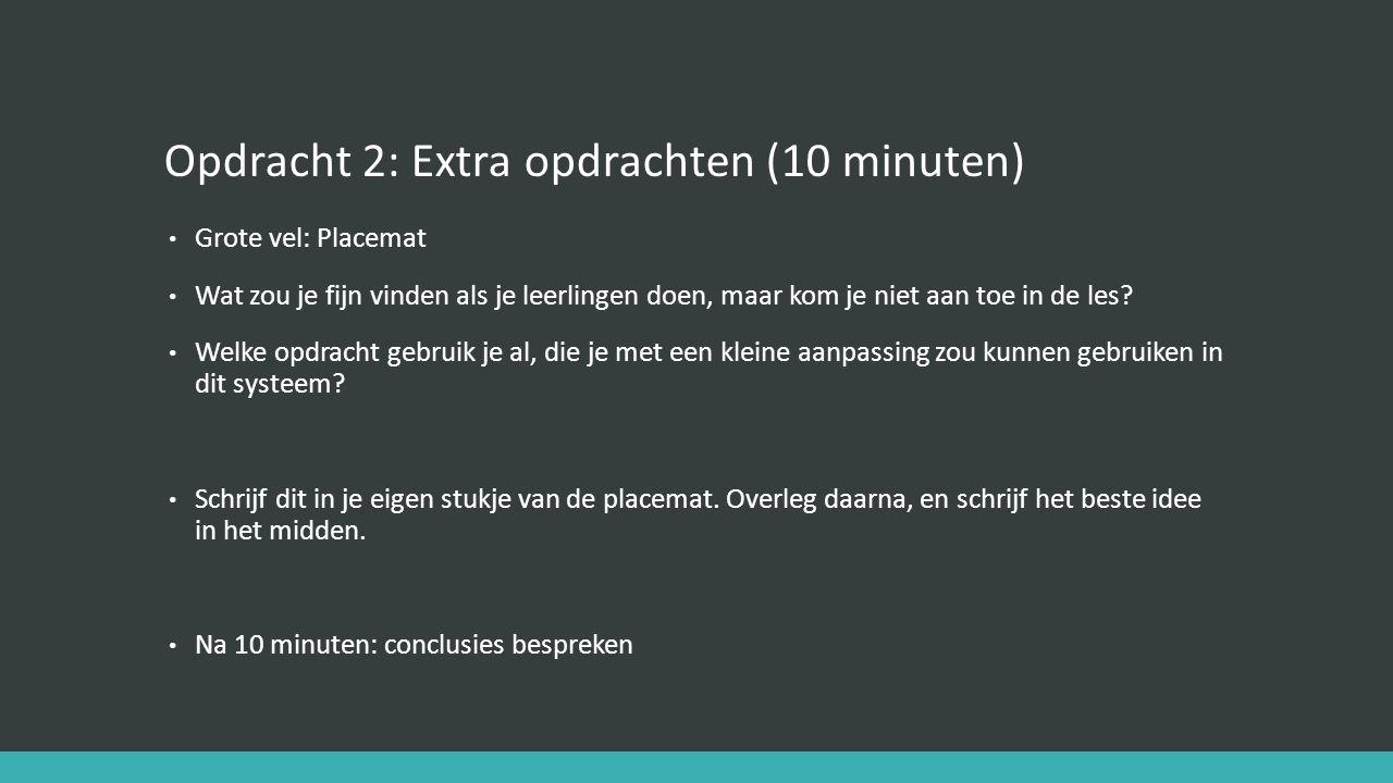 Opdracht 2: Extra opdrachten (10 minuten) Grote vel: Placemat Wat zou je fijn vinden als je leerlingen doen, maar kom je niet aan toe in de les.