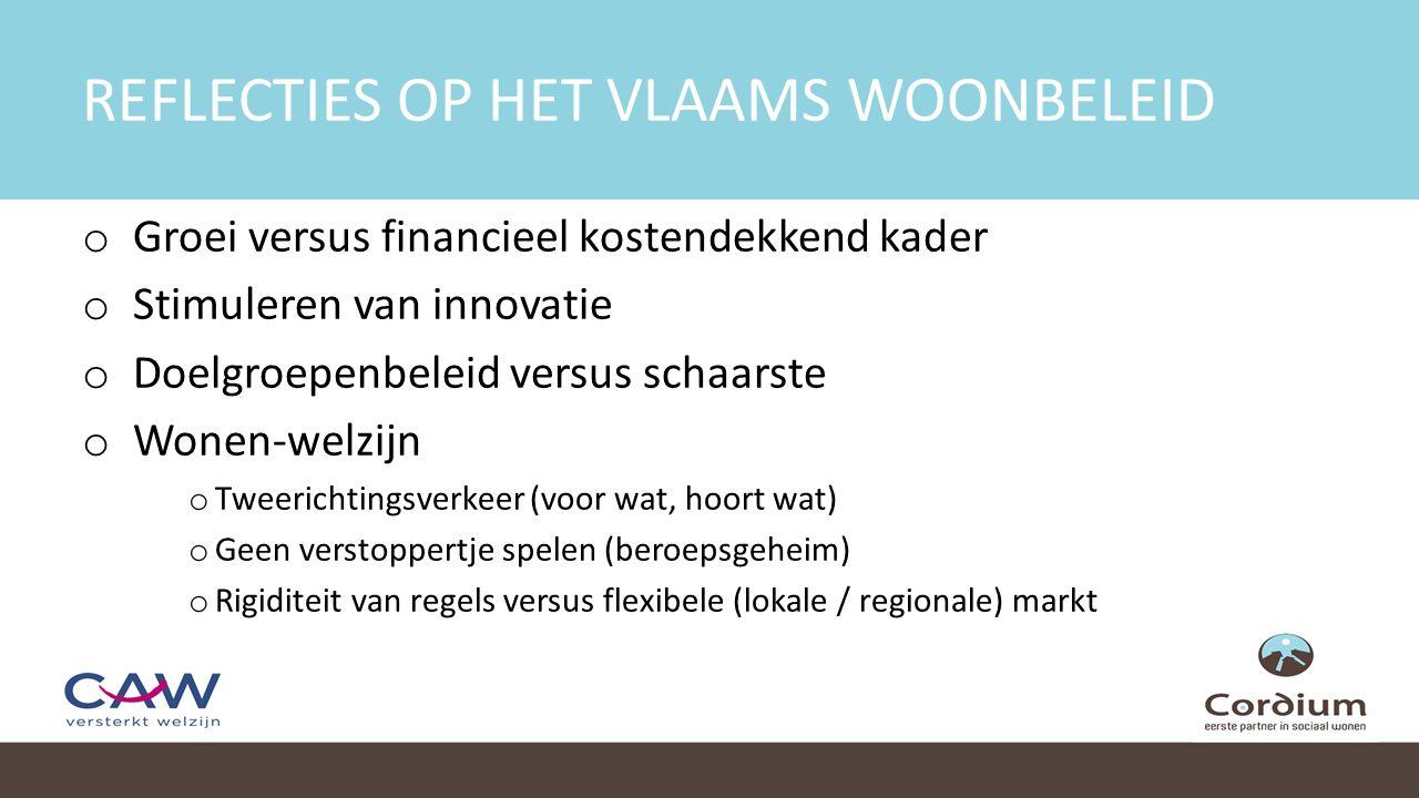 REFLECTIES OP HET VLAAMS WOONBELEID o Groei versus financieel kostendekkend kader o Stimuleren van innovatie o Doelgroepenbeleid versus schaarste o Wonen-welzijn o Tweerichtingsverkeer (voor wat, hoort wat) o Geen verstoppertje spelen (beroepsgeheim) o Rigiditeit van regels versus flexibele (lokale / regionale) markt