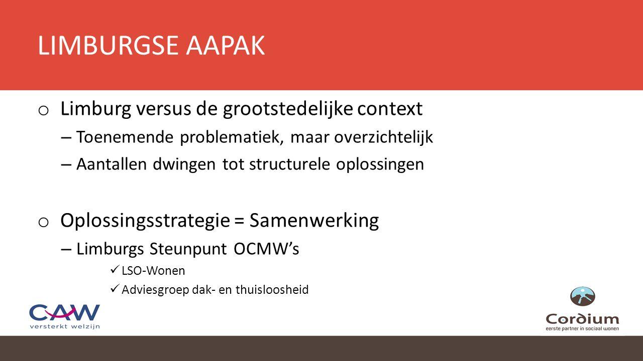 LIMBURGSE AAPAK o Limburg versus de grootstedelijke context – Toenemende problematiek, maar overzichtelijk – Aantallen dwingen tot structurele oplossingen o Oplossingsstrategie = Samenwerking – Limburgs Steunpunt OCMW's LSO-Wonen Adviesgroep dak- en thuisloosheid