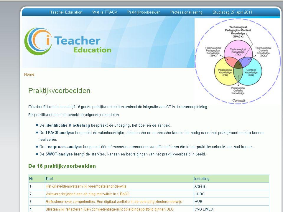 Doel Verkennen in welke mate de praktijkvoorbeelden 1)een meerwaarde kunnen betekenen in de lerarenopleiding 2)als inspiratiebron kunnen dienen voor de toekomstige onderwijspraktijk.