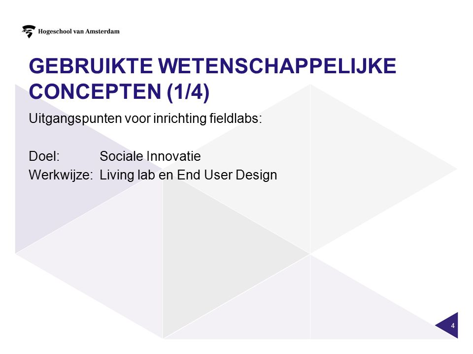 GEBRUIKTE WETENSCHAPPELIJKE CONCEPTEN (1/4) Uitgangspunten voor inrichting fieldlabs: Doel:Sociale Innovatie Werkwijze: Living lab en End User Design 4