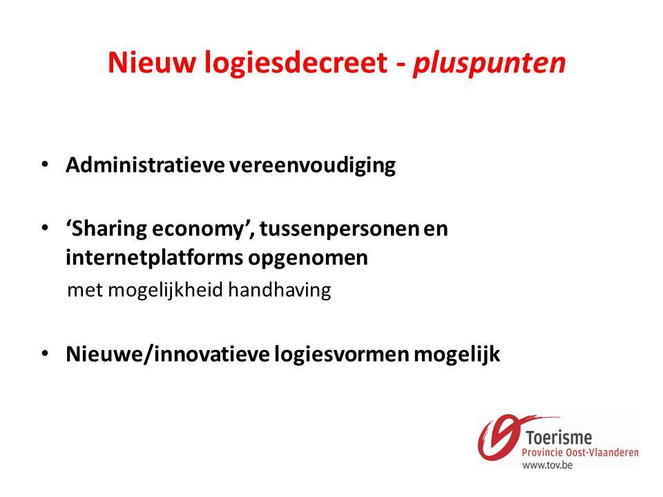 Nieuw logiesdecreet - pluspunten Administratieve vereenvoudiging 'Sharing economy', tussenpersonen en internetplatforms opgenomen met mogelijkheid handhaving Nieuwe/innovatieve logiesvormen mogelijk