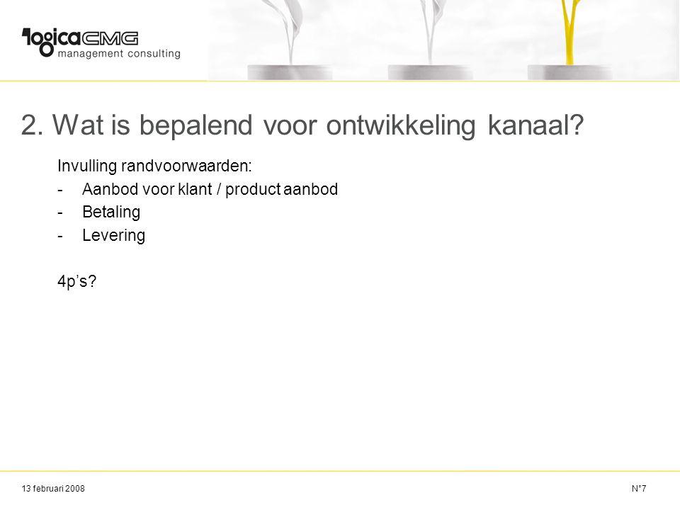 13 februari 2008 2. Wat is bepalend voor ontwikkeling kanaal? Invulling randvoorwaarden: -Aanbod voor klant / product aanbod -Betaling -Levering 4p's?