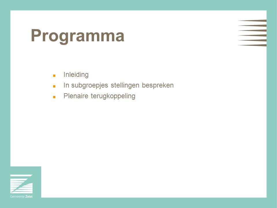 Programma Inleiding In subgroepjes stellingen bespreken Plenaire terugkoppeling