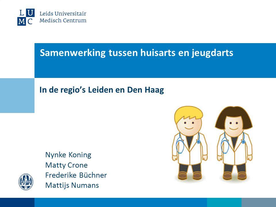 Samenwerking tussen huisarts en jeugdarts In de regio's Leiden en Den Haag Nynke Koning Matty Crone Frederike Büchner Mattijs Numans