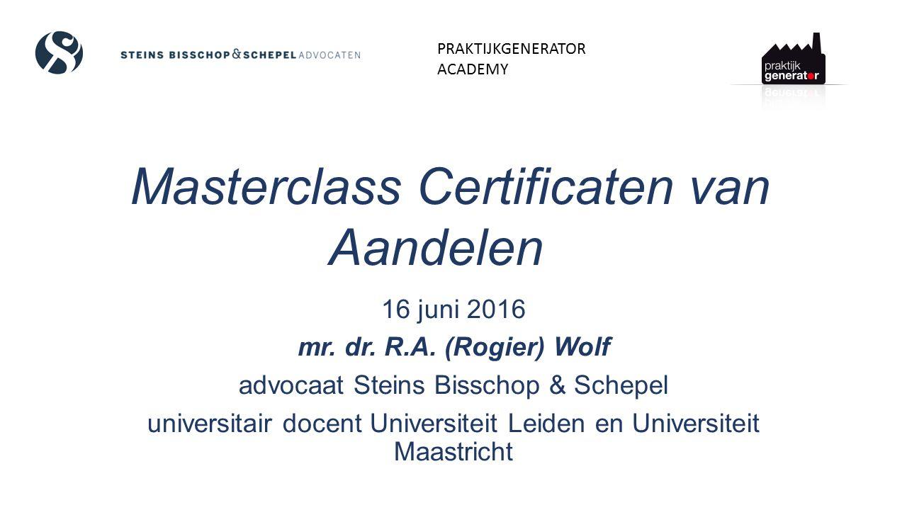 Overdraagbaarheid (I) Certificaat van aandeel is vorderingsrecht op naam Levering volgens art.