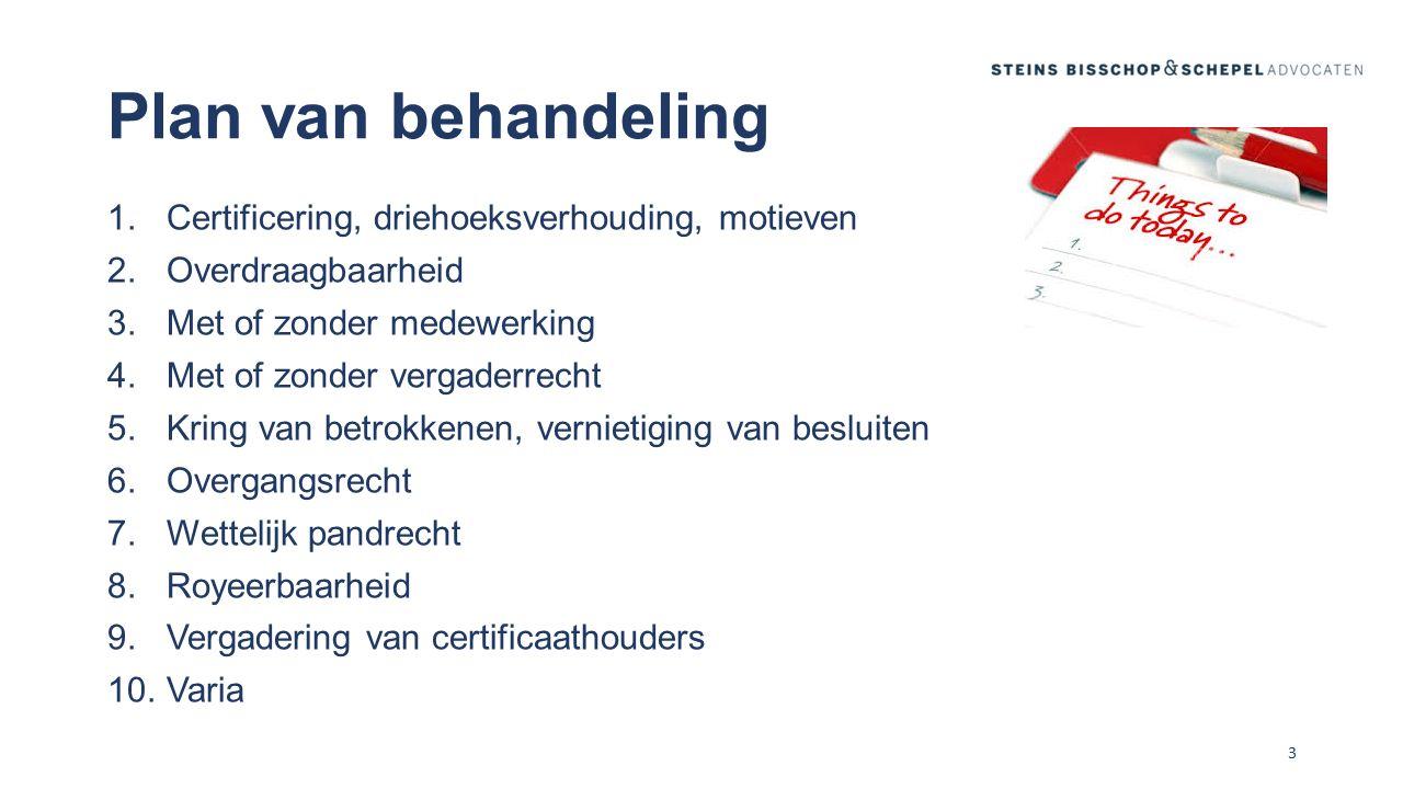 Vergadering van certificaathouders (I) In de regel alleen bij certificaten met vergaderrecht Beperkte of ruime bevoegdheden in administratievoorwaarden N.B.