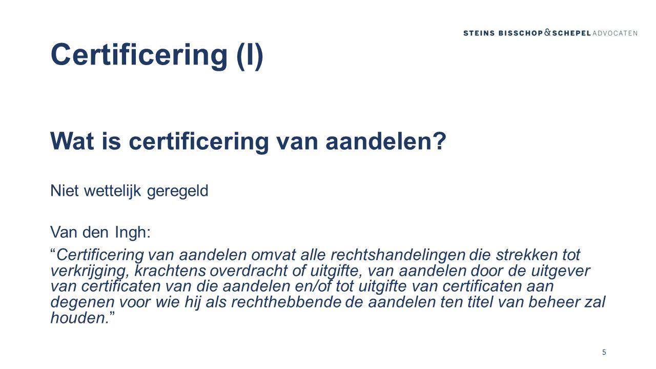 Certificering (II) Scheiding zeggenschaps- en financiële rechten Driehoeksverhouding: vennootschap, administratiekantoor (AK) en certificaathouder AK is juridisch eigenaar van de aandelen en oefent alle aan de aandelen verbonden rechten uit Verhouding AK-certificaathouder: administratievoorwaarden 6