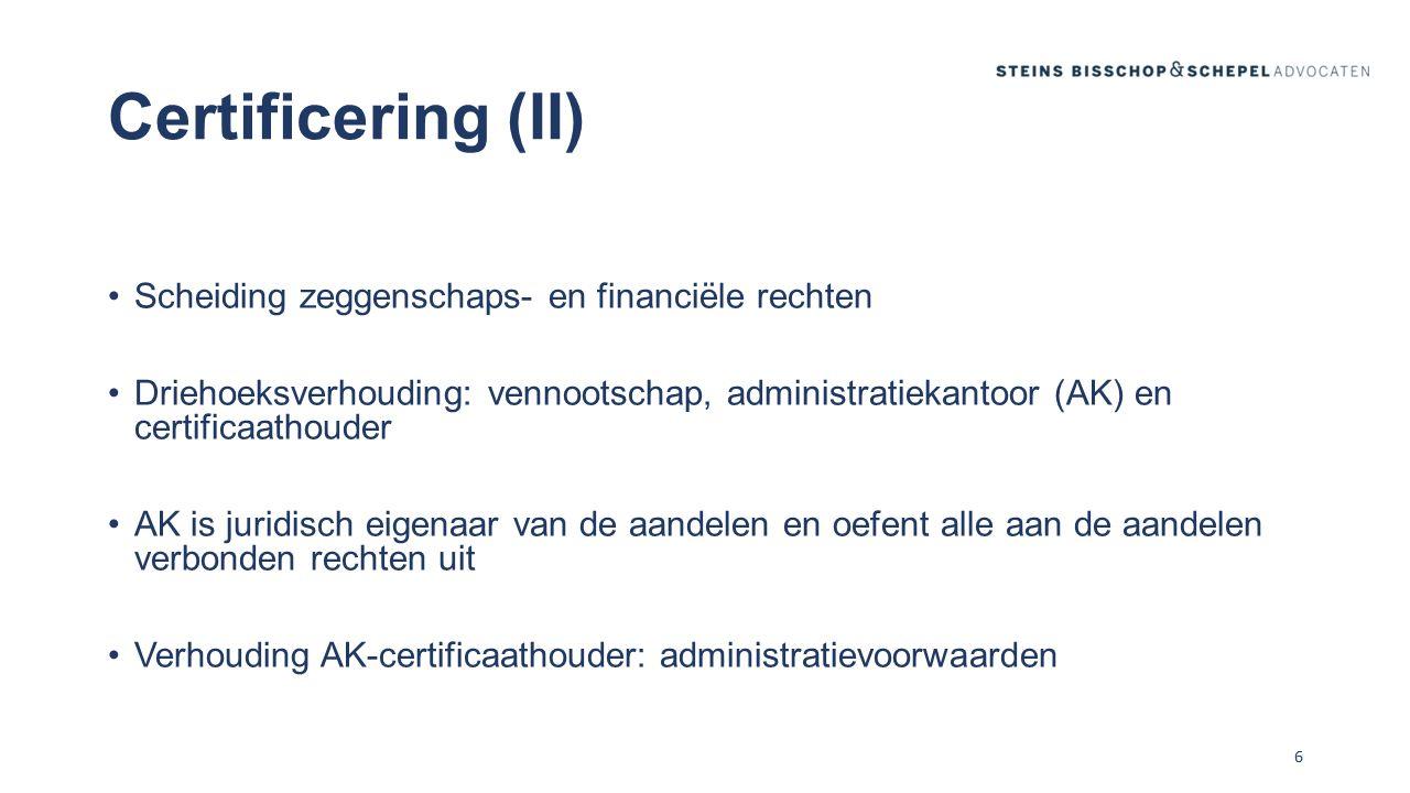 Certificaathouder (CH) AK inhoud verhouding: statuten: met of zonder vergaderrecht.