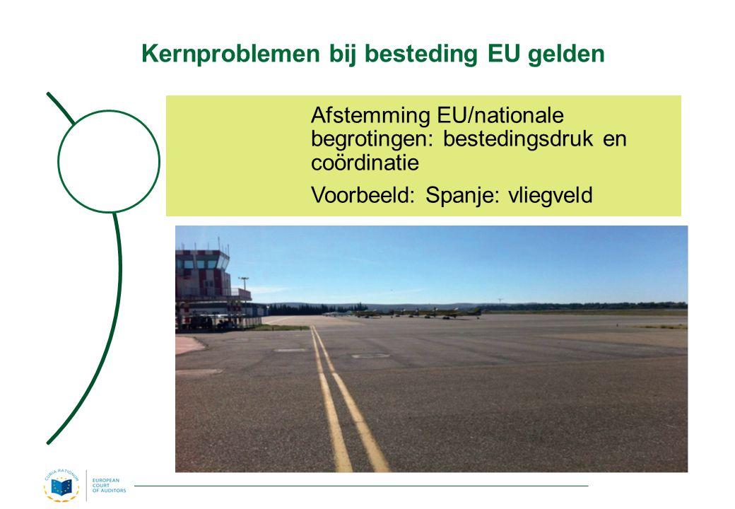 Kernproblemen bij besteding EU gelden Afstemming EU/nationale begrotingen: bestedingsdruk en coördinatie Voorbeeld: Spanje: vliegveld